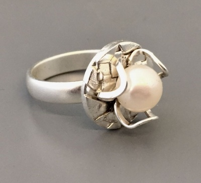 Three Petal Pearl Ring with Eva Sherman