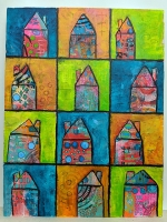 Mixed Media Abstracts - Mini Houses
