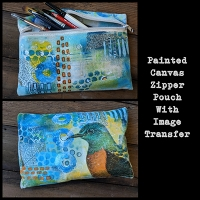 Painted Canvas Zipper Pouch with Image Transfer